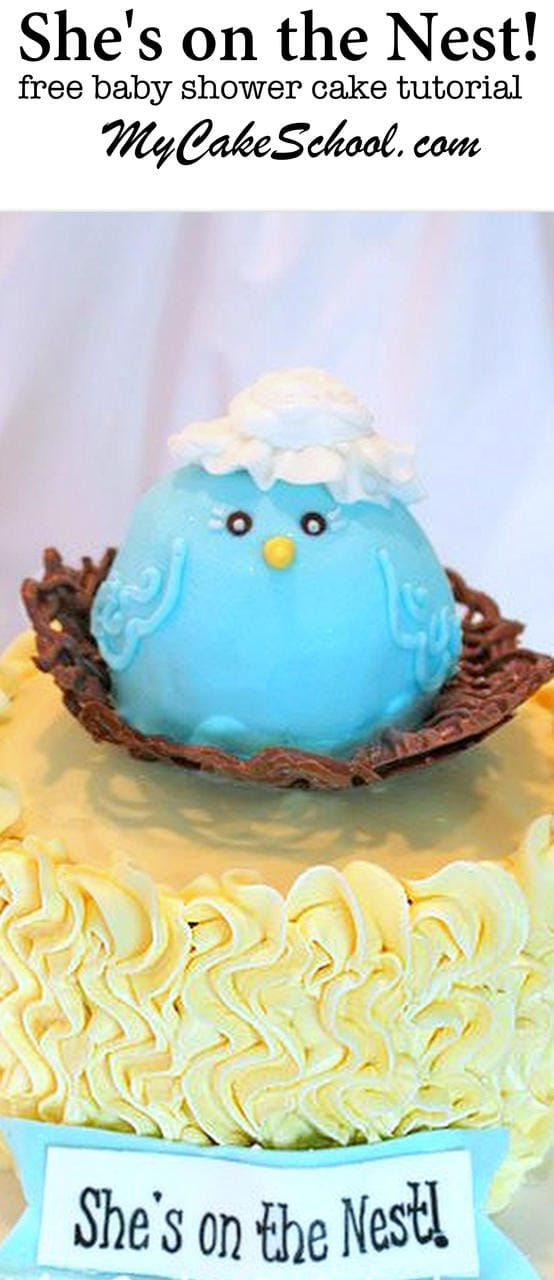 So CUTE! This She's on the Nest Cake Tutorial by MyCakeSchool.com features a sweet Mama Bird. Free Tutorial.