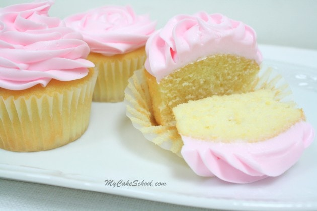 Delicious White Cake Recipe {Doctored Mix} by MyCakeSchool.com