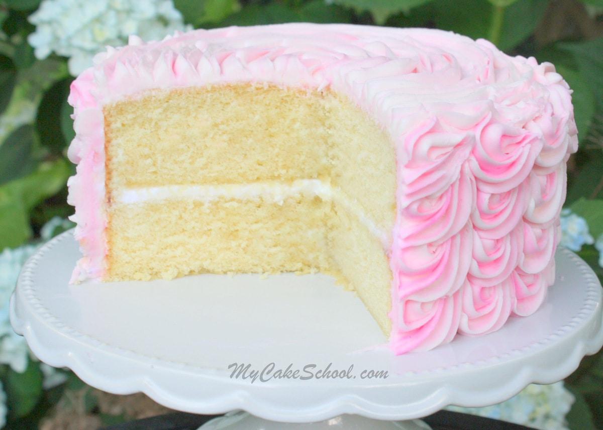 Delicious White Almond Sour Cream Cake Recipe- A Doctored Mix