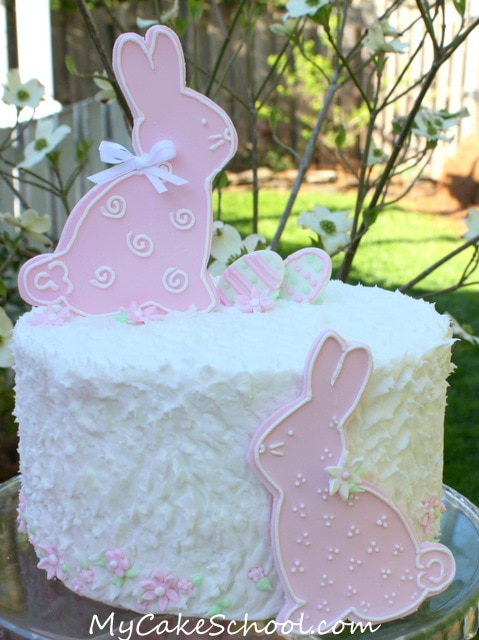 The CUTEST bunny cake! A simple, adorable free cake tutorial by My Cake School! Perfect for springtime and Easter gatherings!