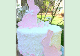 Adorable Springtime Bunnies Cake Tutorial by MyCakeSchool.com! Free Blog Tutorial! MyCakeSchool.com online cake tutorials, recipes, videos, and more!