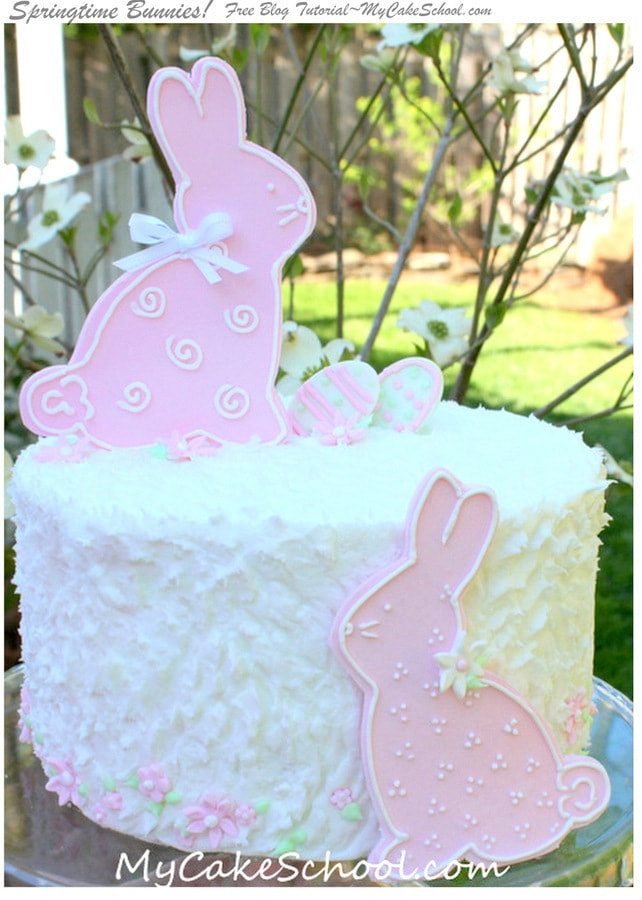 Adorable Springtime Bunnies Cake Tutorial by MyCakeSchool.com! Free Tutorial, and perfect for Springtime and Easter Gatherings and even baby showers! My Cake School online cake tutorials, recipes, videos, and more!