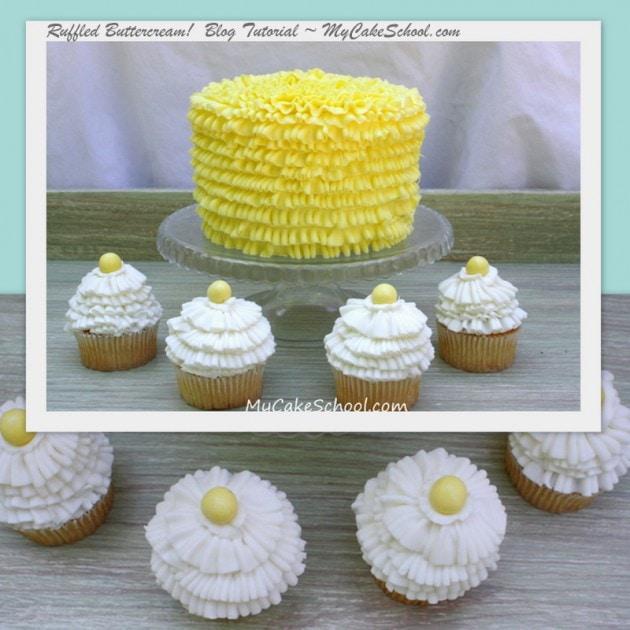 Ruffled Buttercream Cake & Cupcakes Tutorial!~Tips 050 & 070