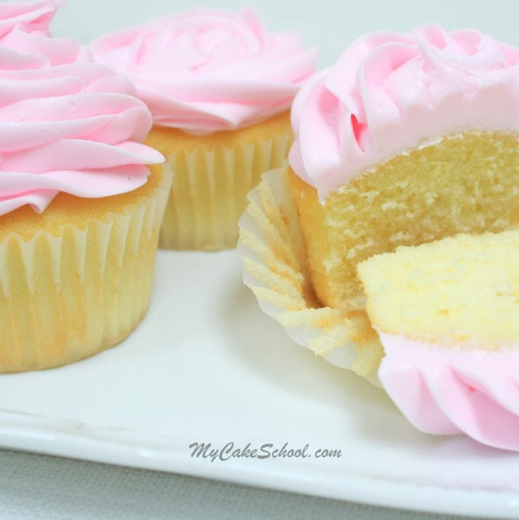 Easy and delicious White Cake (Doctored Cake Mix) Recipe by MyCakeSchool.com! Perfect for both cakes and cupcakes!