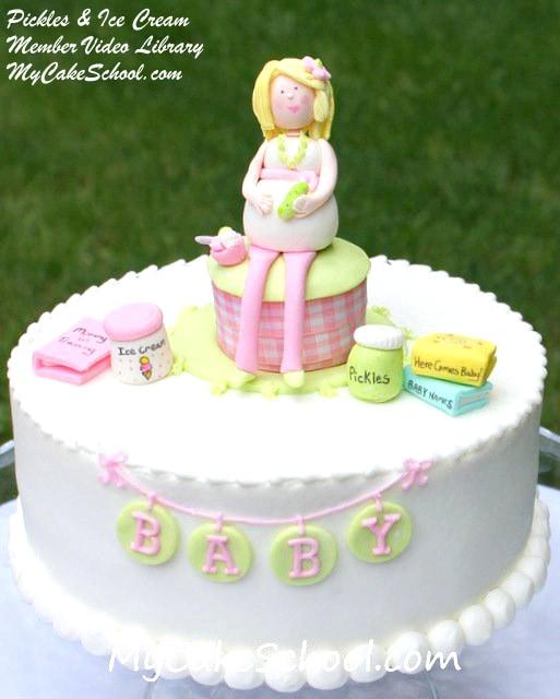 Pickles & Ice Cream! Baby Shower Cake Tutorial by MyCakeSchool.com! Online Cake Tutorials, Cake Videos, and More!