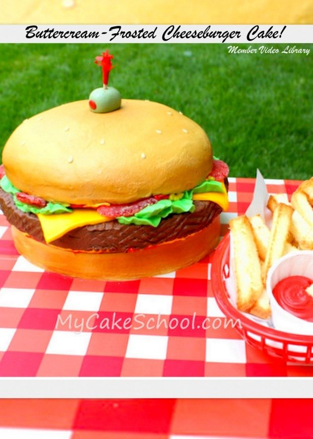 Awesome frosted Cheeseburger Cake Video Tutorial by MyCakeSchool.com! Online Cake Classes & Recipes!