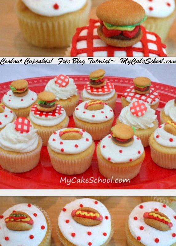 Quick and Easy Cookout Cupcakes! Cake Decorating Tutorial by MyCakeSchool.com! Online Cake Classes & Recipes.