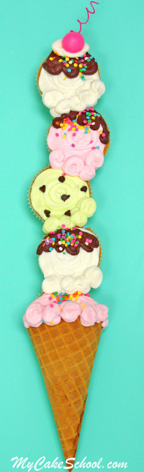 Ice Cream Cone Cupcakes!  Blog Tutorial + Minute Video!  MyCakeSchool.com