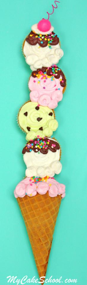 Ice Cream Cone Cupcakes! Blog Tutorial + Minute Video! MyCakeSchool.com