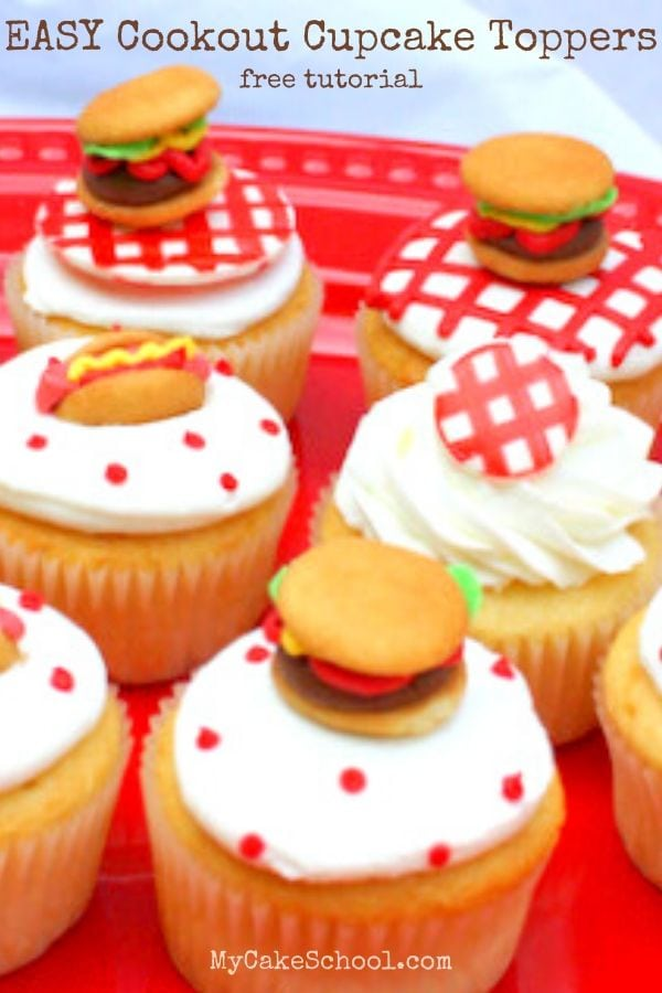 Learn how to make EASY Cookout Cupcake Toppers!