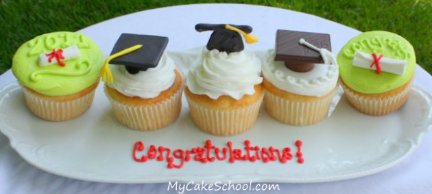 Graduation Cupcake Tutorial! Learn to make these quick and easy Graduation Designs in My Cake School's cupcake video tutorial!