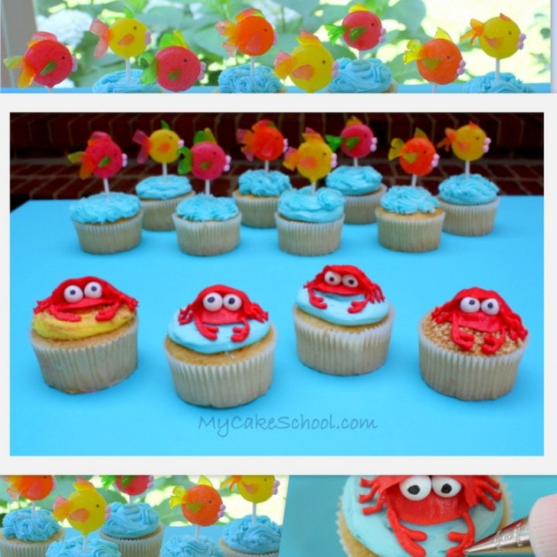 The cutest beach themed cupcakes! Free cupcake tutorial by MyCakeSchool.com.