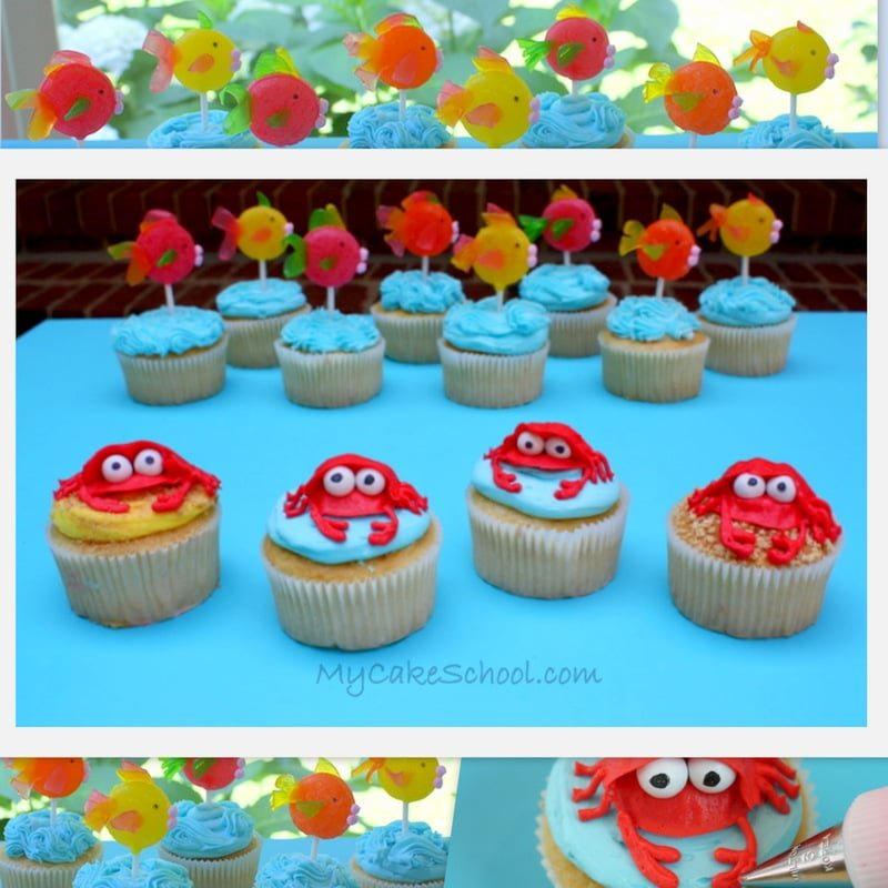 Adorable Beach Cupcakes! Free Tutorial by MyCakeSchool.com! Perfect cupcakes for pool parties and beach or luau parties!