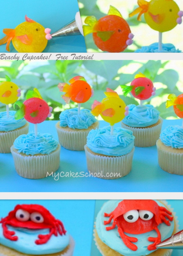 Adorable Beach Cupcakes featuring colorful fish and crabs! MyCakeSchool.com free cupcake tutorial!