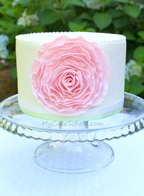 Beautiful Ruffled Fondant Rose Cake Tutorial by MyCakeSchool.com! Free Tutorial.
