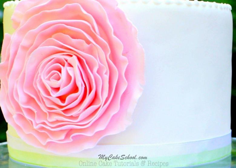 Fondant Ruffle Rose Cake- Free Tutorial!