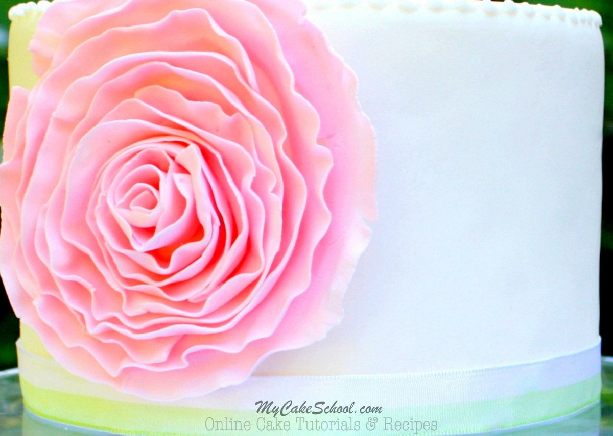 Learn how to make an elegant Fondant Ruffle Rose Cake in this free step by step cake tutorial! MyCakeSchool.com Online Cake Tutorials, Recipes, Cake Videos, and More!