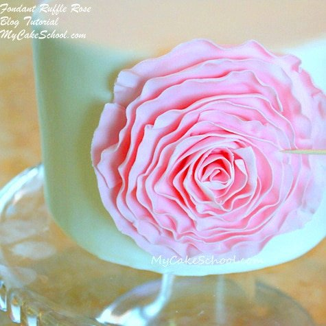 Gorgeous Fondant Ruffle Rose Cake Tutorial by MyCakeSchool.com. Online cake tutorials, cake recipes, videos, and more.