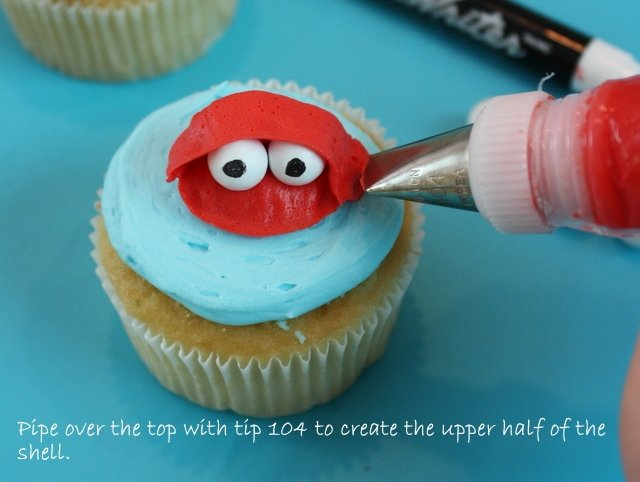 Cute beach themed cupcakes! Colorful fish and crab free cupcake tutorial by MyCakeSchool.com!