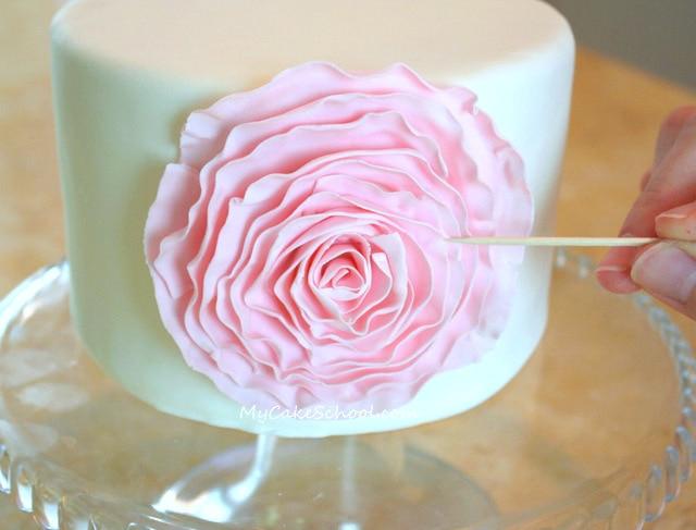 Fondant Ruffled Rose~ Blog Tutorial by MyCakeSchool.com