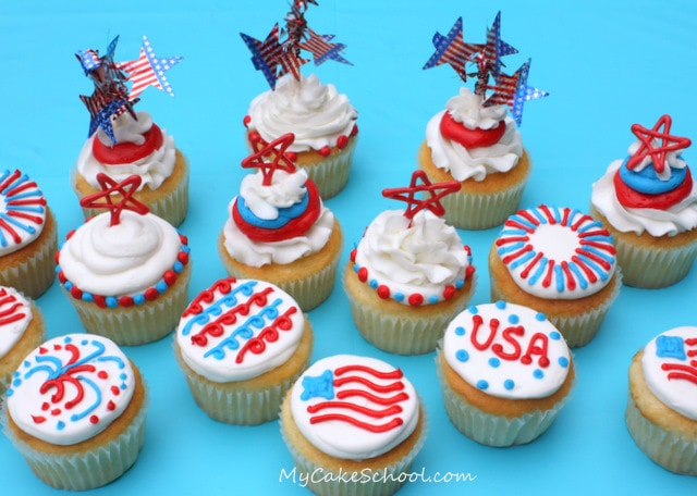 Adorable patriotic cupcakes for the Fourth of July! Free step by step cupcake tutorial by My Cake School!