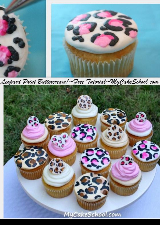 Leopard Print Cupcakes! Free Tutorial by MyCakeSchool.com