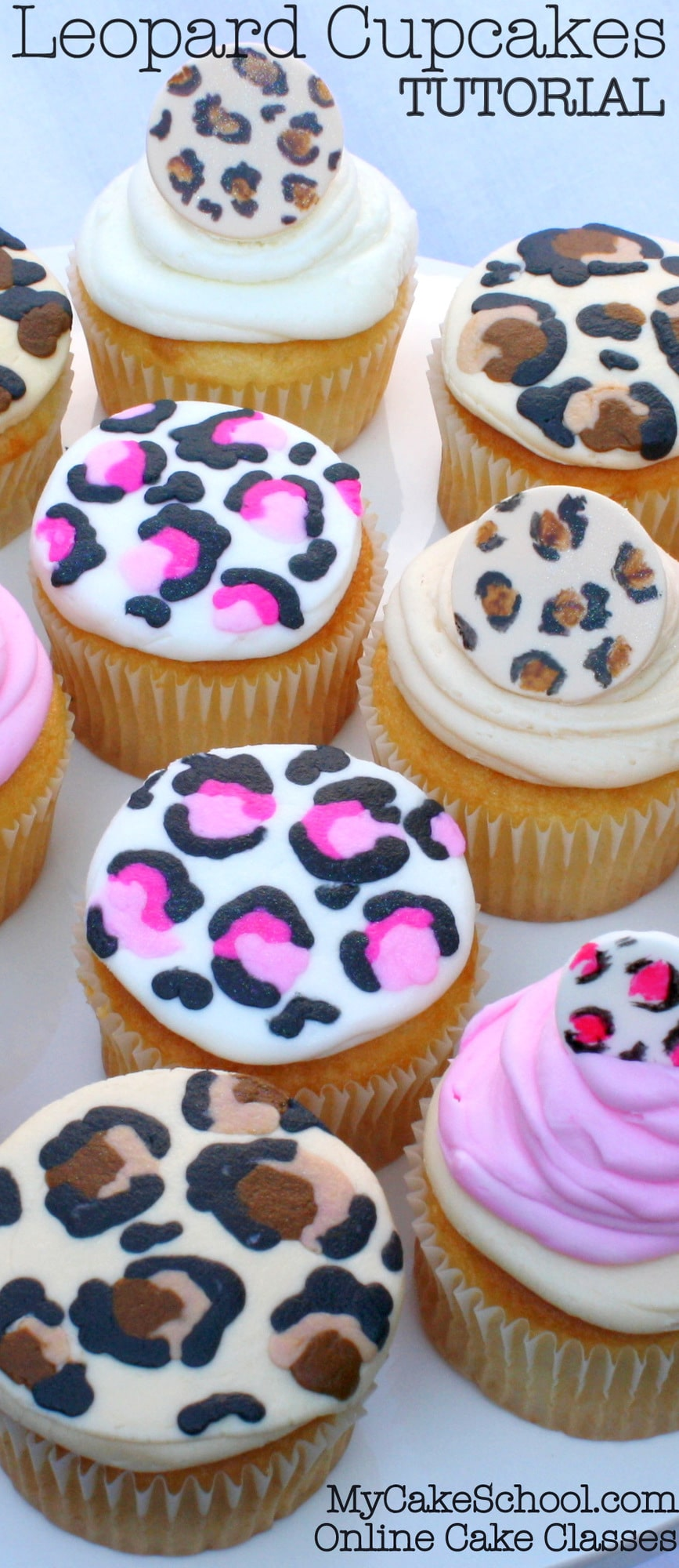 Leopard print cupcakes free blog tutorial my cake school for Animal print edible cake decoration