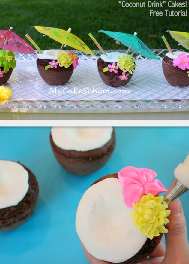 "CUTE and Easy Tutorial for Coconut ""Drink"" Cakes! Perfect for summer themes! MyCakeSchool.com."