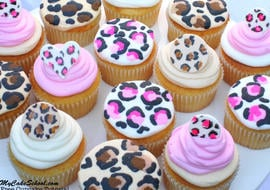 Leopard Print Cupcake Tutorial! Leopard Buttercream Tutorial & Leopard Print Cupcake Toppers! Free Blog and Video Tutorial! MyCakeSchool.com.