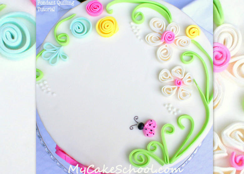 Beautiful fondant quilling cake decorating tutorial by MyCakeSchool.com!