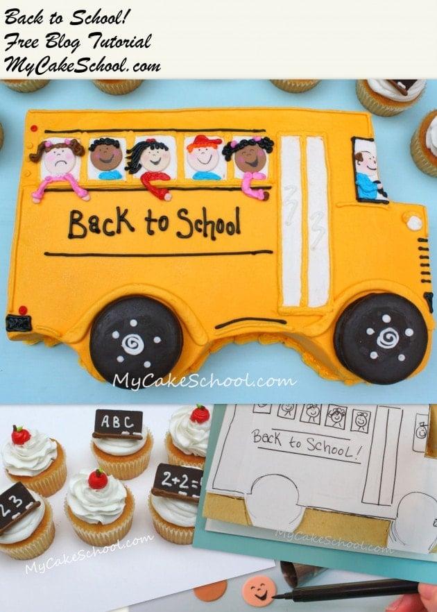 CUTE Back to School Cake & Cupcake Tutorial by MyCakeSchool.com! {free}