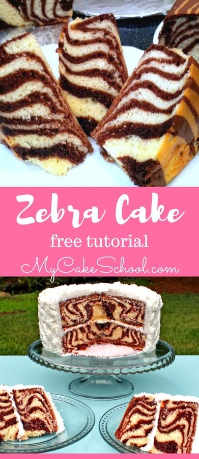 Learn to make a Zebra Cake with Stripes on the Inside! Free Tutorial by MyCakeSchool.com
