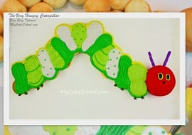 Adorable Very Hungry Caterpillar themed pull-apart cupcake cake! Cake decorating tutorial by MyCakeSchool.com! Online cake tutorials and recipes!