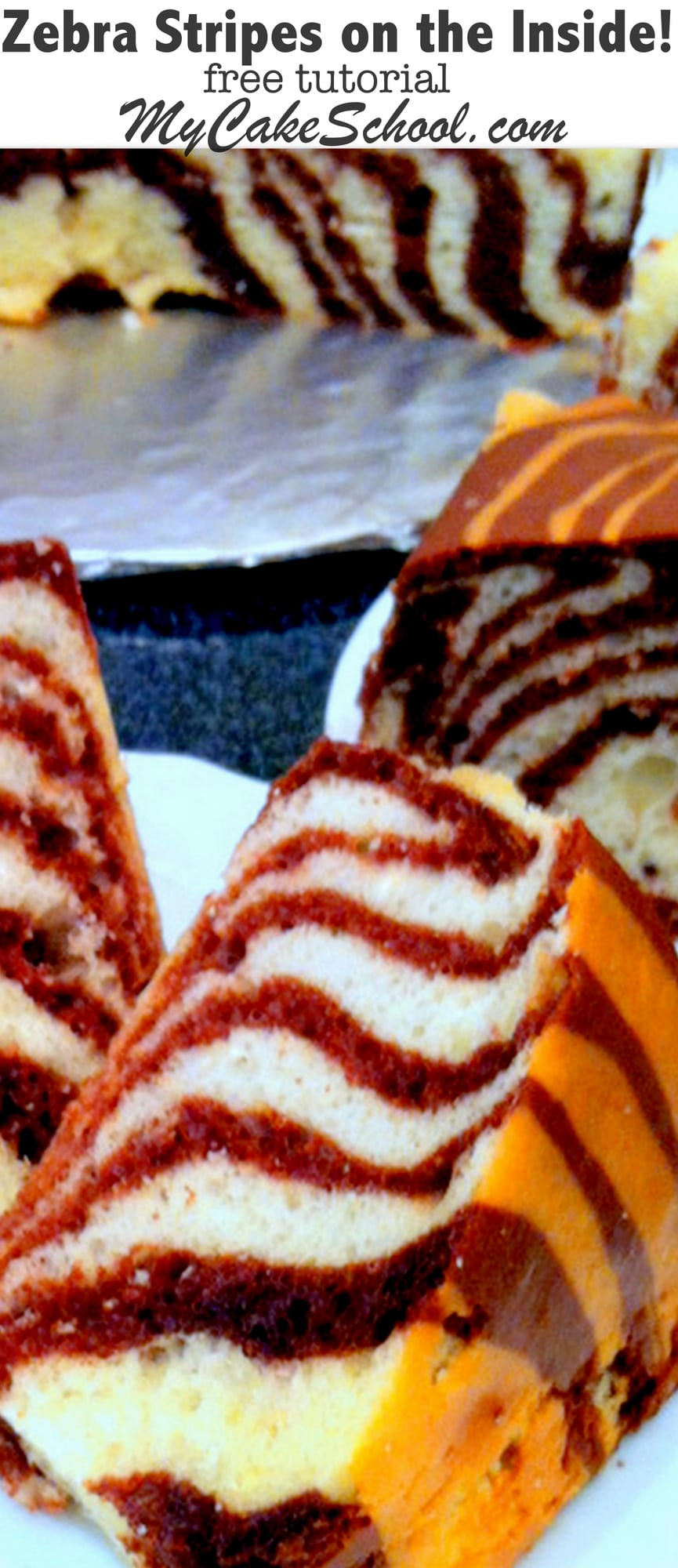 Zebra Cake Tutorial! Learn to create a zebra print pattern on the inside of your cakes in this simple cake tutorial by MyCakeSchool.com! A fun and fabulous spin on marble cake!