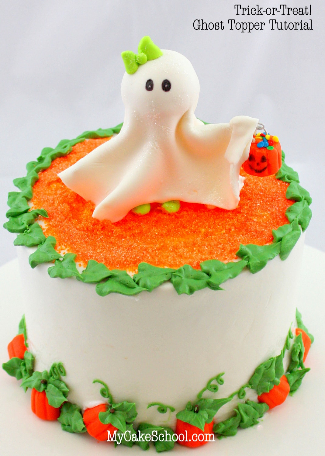Adorable Ghost Topper and Pumpkin Patch Border! Free Cake Tutorial by MyCakeSchool.com