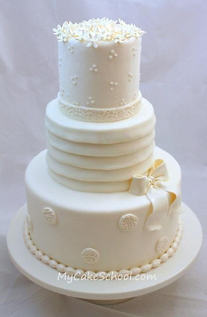 Elegant Wedding Cake Decorating Tutorial by MyCakeSchool.com. Online Cake Decorating Tutorials & Recipes.