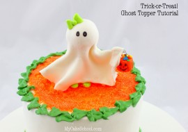 Adorable Halloween Cake Tutorial featuring a sweet Ghost Cake Topper and Pumpkin Patch Border! SO easy and festive! Free Cake Tutorial by MyCakeSchool.com!