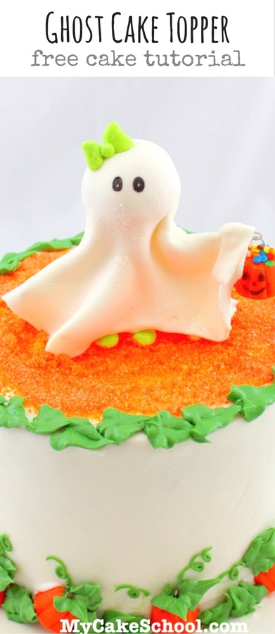 Adorable Ghost Cake Topper Tutorial by MyCakeSchool.com! Free Tutorial and PERFECT for Halloween celebrations!
