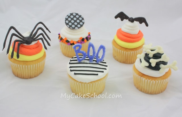 CUTE Halloween Cupcakes by MyCakeSchool.com! Simple, spooky designs!