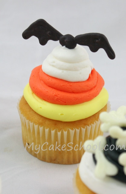 Bat Cupcake from MyCakeSchool.com's ADORABLE Halloween Cupcake Tutorial!