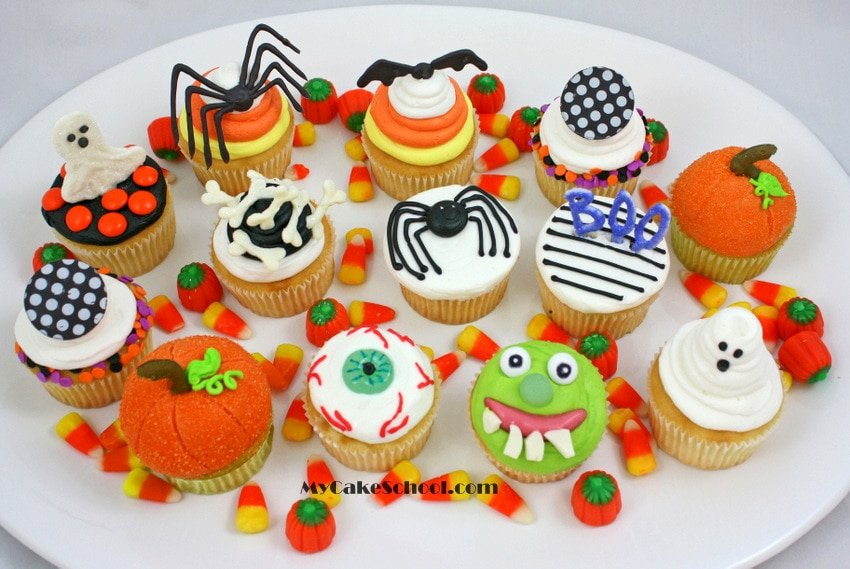 platter of cute halloween cupcakes from mycakeschoolcoms free tutorial perfect for any halloween - Decorating Cupcakes For Halloween