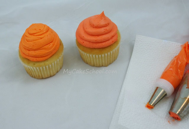 Adorable Pumpkin Cupcakes from MyCakeSchool.com's free tutorial!