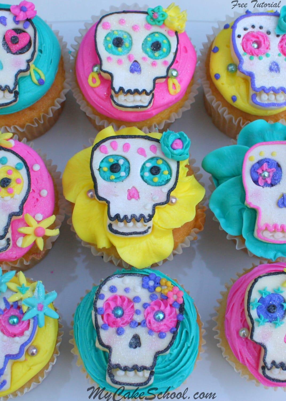 El Dia de los Muertos! Free cupcake tutorial by MyCakeSchool.com!