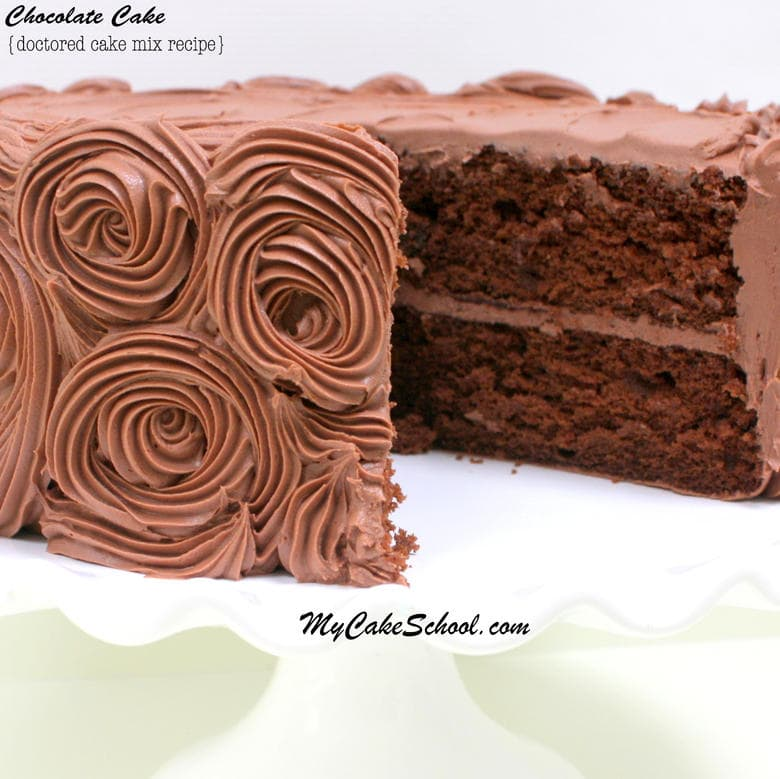 Fabulous Chocolate Cake Recipe-Doctored Cake Mix. Recipe by MyCakeSchool.com. Super moist, simple, and delicious!