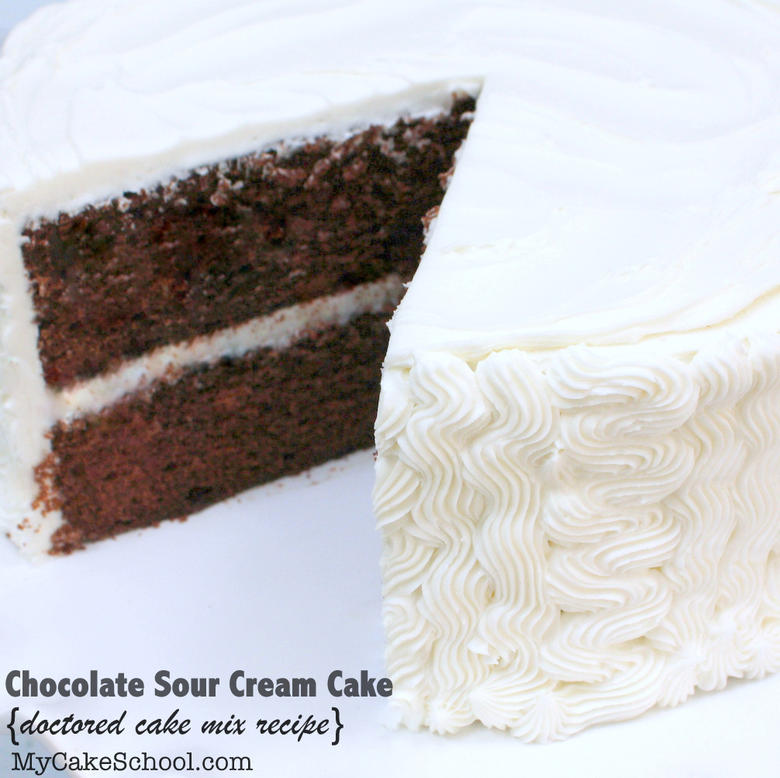 DELICIOUS Chocolate Sour Cream Cake (Doctored Cake Mix) Recipe by MyCakeSchool.com! So decadent! This one's a keeper!