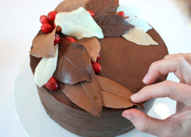 Learn to make gorgeous chocolate leaves for your autumn cakes in this free My Cake School tutorial!