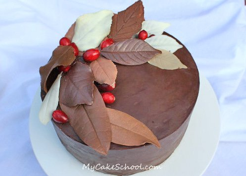 Cake Decorating Leaves : Autumn Cake- Chocolate Leaves!~Blog Tutorial My Cake School