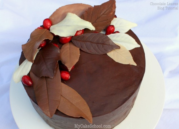 Elegant Chocolate Leaves! Free tutorial by MyCakeSchool.com