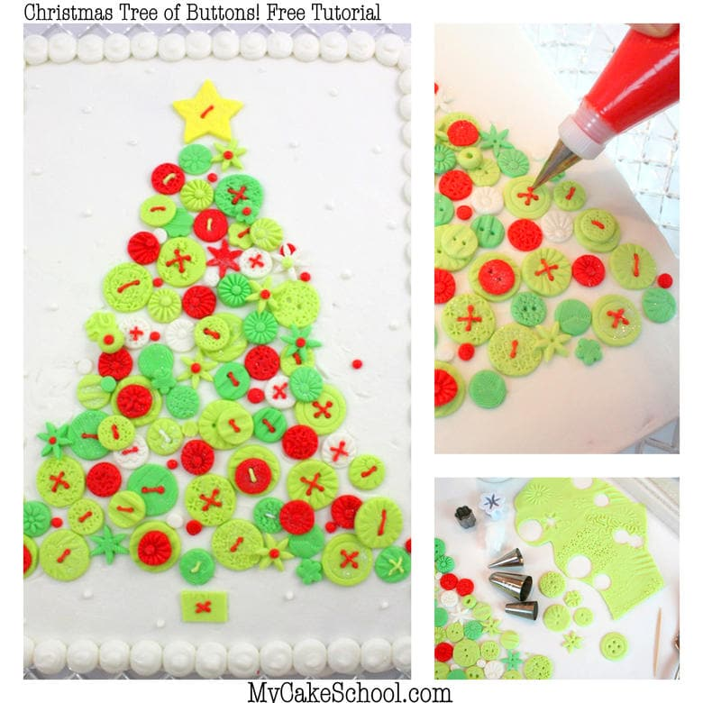 Adorable and simple Christmas Tree of Buttons Cake Tutorial by MyCakeSchool.com! Perfect for Christmas parties, and so simple to create!