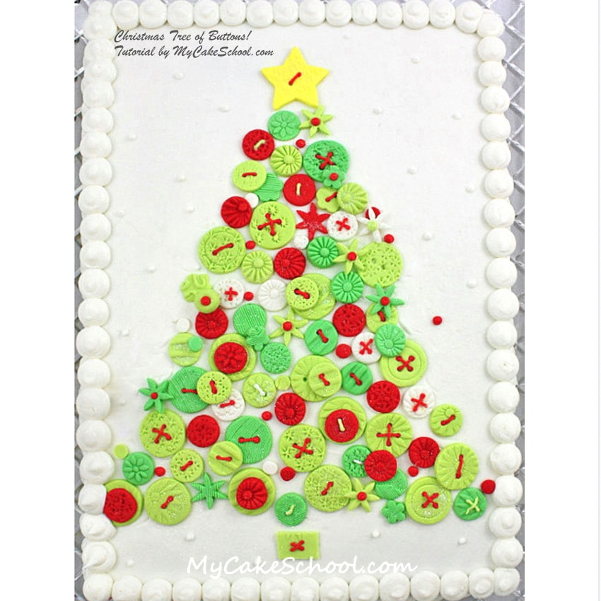 Christmas Tree of Buttons! Tutorial by MyCakeSchool.com